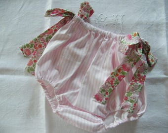 Pink onesie with bows in LIBERTY of Anjo and cotton baby 1/3/6/12/18 months