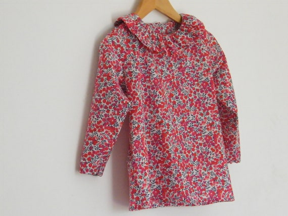 Blouse LIBERTY Wiltshire red child 2 3 4 5 6 years long or  b331d4c9b387
