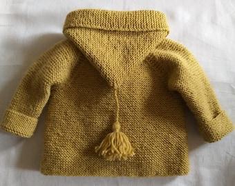 Coat/Burnou/Paletot, 100% hand knit, navy wool or mustard yellow 3/6/12 months Baby //Time 2/3 weeks