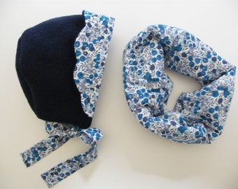 Beguin Set Snood LIBERTY Wiltshire Curacao, navy blue boiled wool 3/6/12/18 months 2/3/4/6 years