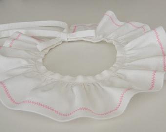 Removable white pierrot collar, embroidered, Oeko-Tex birth 1/3/6/12/18 months 2/4/6/8/10 years