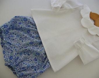 Béguin LIBERTY Bloomer, Oeko-Tex blouse, crush, D'Anjo blue birth 1/3/6/9/12/18 months
