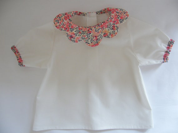 Kids blouse LIBERTY Wiltshire sweet pea scalloped sleeves  95f8a76f1532