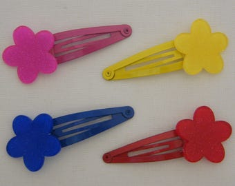 Hair clip - Clack Fleur glitter (pink, Royal Blue, yellow, red) girl
