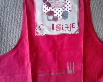 KITCHEN apron red 100% cotton fabric, appliqué pattern: old recipes