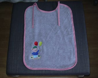 bib baby, sponge, embroidered pattern: little boy and his balloons