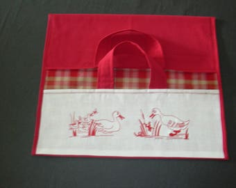 "Bag pie red embroidered ""ducks in REDWORK"""