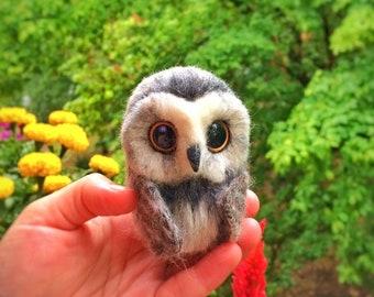 Halloween gift needle felted gray owl figurine, organic wool handmade soft bird.