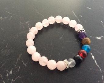 Bracelet rose quartz beads
