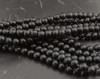 Black agate 6 mm grade A, set of 10 or 65 beads