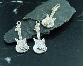 2 silver guitar charm pendants
