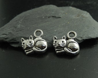 2 silver metal cat charms