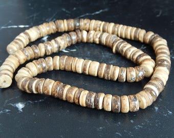 20 flat round coconut wood beads