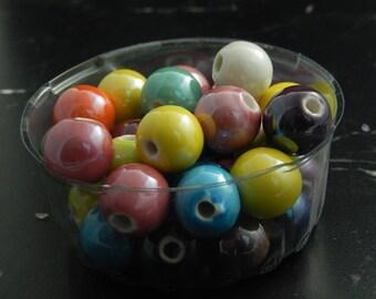 Porcelain 12mm, set of 10 beads