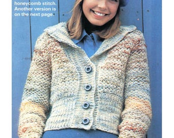 Cardigan Knitting Pattern - Multi-color Honeycomb Design