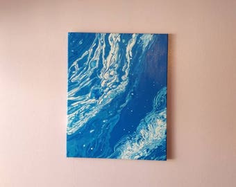 """Blue flow on 16""""×20"""" stretched canvas and acrylic is the medium."""