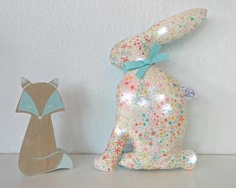 Pilot baby pilot rabbit night light fabric Liberty Adelajda green yellow sun, kids night light, baby birth gift, led night light
