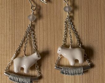 Cold as ice, polar bear earrings