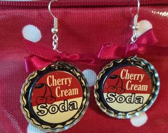 Earrings caps bottle/American / * CHERRY * cherry * SODA * cream * red bow *.