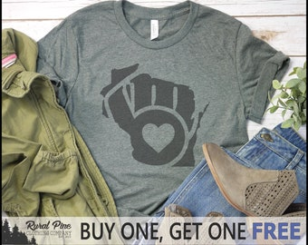 1b1c997c5 SALE TODAY  Wisconsin Milwaukee Brewers Heart T-Shirt    Unisex Tee    Baseball  Shirt    Milwaukee Brewers