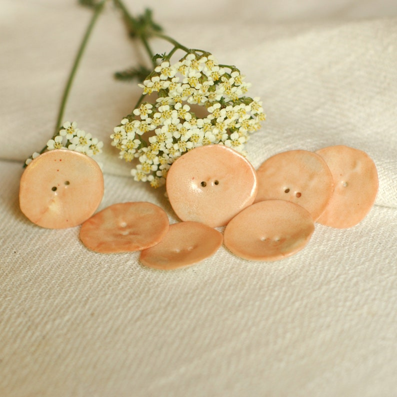 Fabric Covered Buttons 2cm Salmon Pink with White