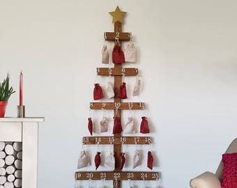 wooden christmas tree advent calendar - Wooden Christmas Advent Calendar