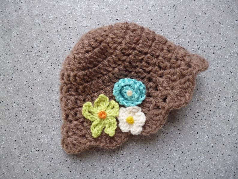 Bonnet Fleurs Au Crochet Pour Poupee En Laine Couleur Marron Etsy