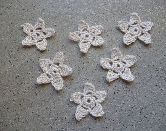 6 stars crocheted white cotton thread gold handmade