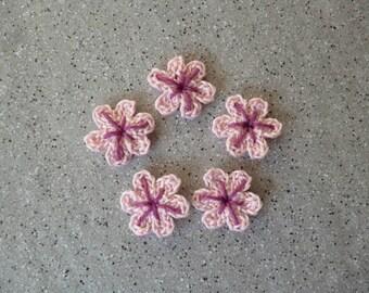 5 flowers crochet handmade cotton