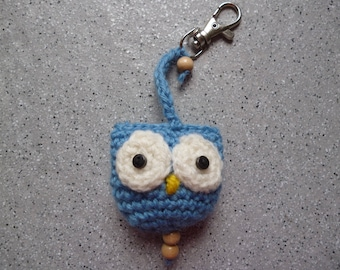 Keychain, OWL bag charm or OWL wool crocheted by me