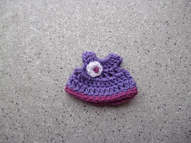 embellishment scrapbooking Miniature dress crocheted by hand in crochet cotton miniature cardmaking.