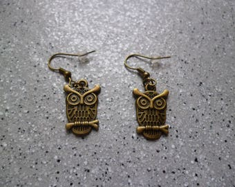 1 pair of pretty earrings owls in antique bronze
