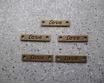 5 metal charm Love bronze 25 mm approx
