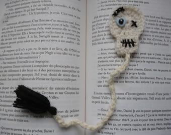 Marque page tête de mort réalisé à la main au crochet, marque page au crochet, marque page fantaisie en laine, skull,  fait main