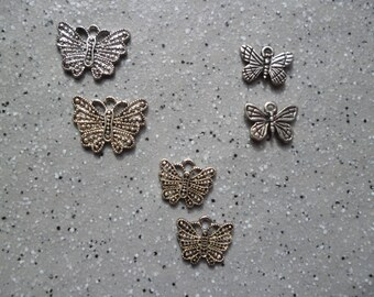 Set of 6 Butterfly charms in antique silver