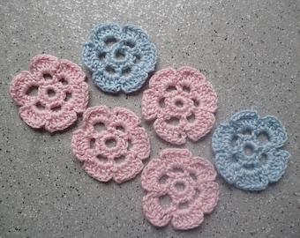 6 flowers crochet handmade cotton
