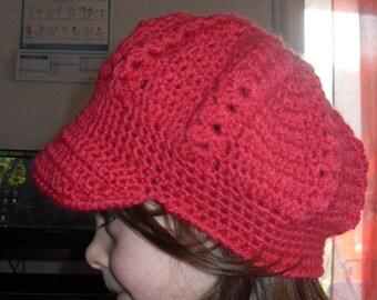 Hat with visor crochet handmade