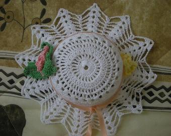 White crochet capelet