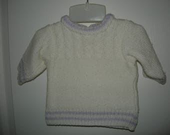 1 yellow 6 months knitted baby sweater one white 3 months