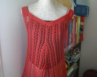orange crochet tunic one size