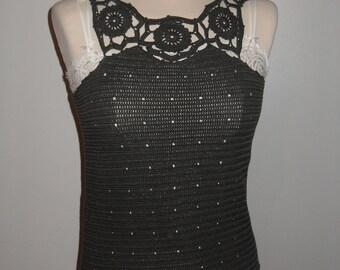tank top sleeveless charcoal grey crochet