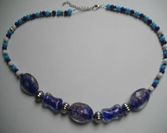 Blue lampwork Bead Necklace