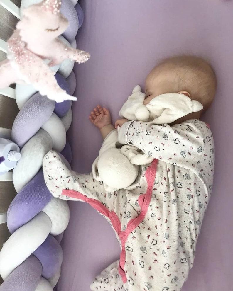White purple Pillow for kids Decorative Pillow Bolster lilac Braided Crib Bumper of 4 strips light gray melange