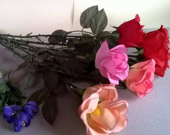 (64) artificial fabric flowers