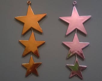 216) set of two pink and amber stars charms