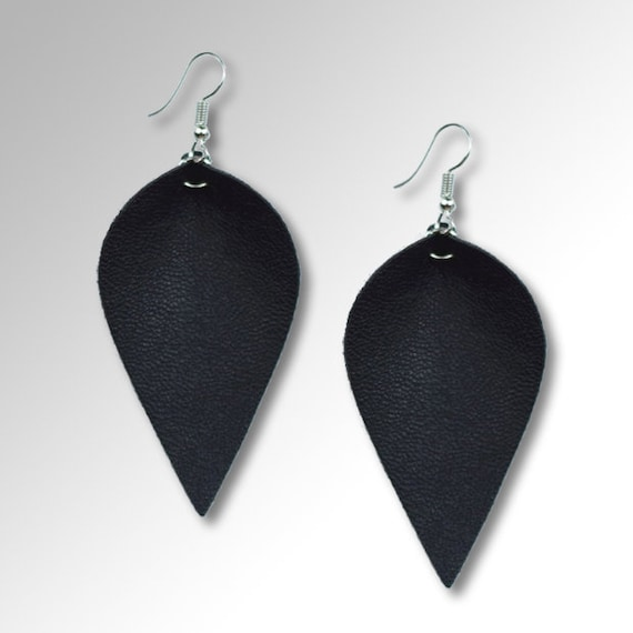 Teardrop Earrings Pinched Leather Earrings Gift for Her Black Leather Leaf Earring Pinched Petal Earrings Joana Gains Inspired Earrings