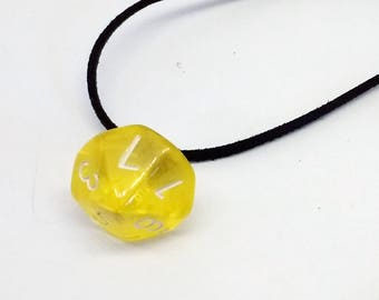 Yellow gelatin d10 necklace