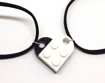 Yin and yang in Lego heart necklaces