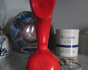 Vintage Ericofon,Cobra Red Rotary Phone, 1960's Decor- Home Decor- Sweden Style Phone- Art Object