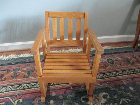 Wondrous Vintage Childrens Rocking Chair Solid Oak Wood Boho Nursery Decor 1960S Artisan Made In Usa Farmhouse Decor Andrewgaddart Wooden Chair Designs For Living Room Andrewgaddartcom